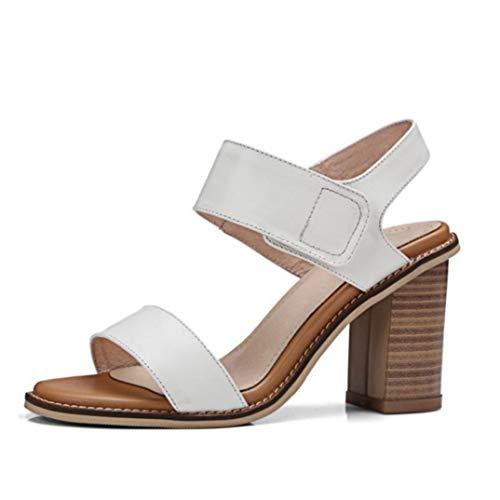 Sandalias de tacón Alto de Cuero con Punta Abierta para Mujer Oficina de tacón Diario Zapatos de Mujer Slingback Elegantes Sandalias de Estilo básico
