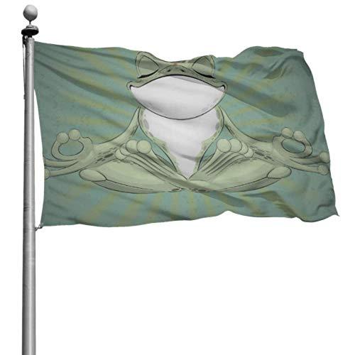 Decoración de Fiesta de la Bandera Rana de árbol Divertida Meditación Rana de Yoga Banderas de Patio al Aire Libre Decoración de la Bandera Colgante 4x6 pies (120x180 cm) Poliéster