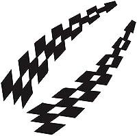 UYEDSR 車のステッカー カーレースステッカー車両車デカール格子縞ホイールフラグ安全ビニールステッカーアクセサリー装飾-Black_2pc s