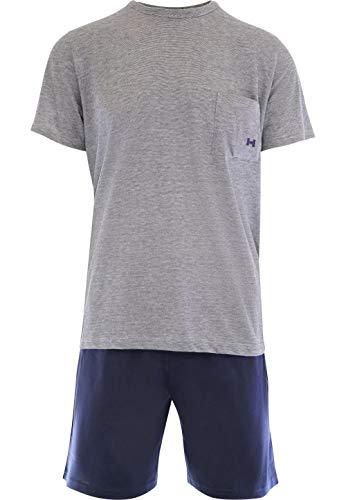 HOM - Herren - Kurz-Pyjama \'Comfort\' - 2-Set hochwertige Schlafmode - Navy - 2XL