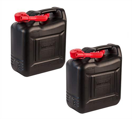 Hünersdorff 2X 10 Liter Benzinkanister mit Kindersicherung - Aus Kunststoff - Mit Ausfüllrohr - Schwarz, rot - Reservekanister, Kanister, 10l Jerrycan