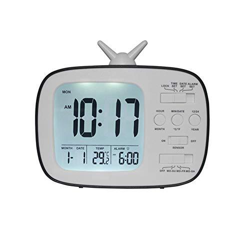 ANCLOK LED tv-wekker elektronisch desktop smart snooze temperatuur digitale slaapkamer wekker nachtkastje Nixie kinderhorloge zwart.