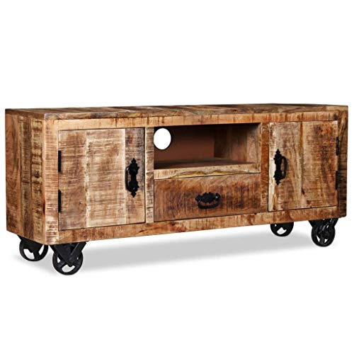 SHUJUNKAIN Mueble para la TV de Madera de Mango Rugosa 120x30x50 cm Mobiliario Muebles TV Material: Madera Maciza de Mango Rugosa (con Acabado Mate)