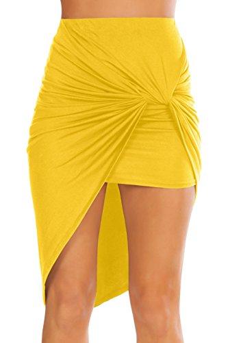 Womens Drape up Stretchy Asymmetrical High Low Short Mini Bodycon Pencil Skirt Yellow Small