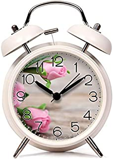 GIRLSIGHT Alarm Clock for Kids Child Retro Silent Pointer Alarm Clock Strong Bedside Tables Cute Loud Alarm Light House Decorations 574.Shallow Focus Pink Ceramic Roses(White)