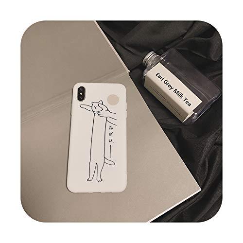 Japonés divertido graffiti gato teléfono caso para iPhone 11 Pro Max XR Xs XsMax X 7 7 Puls 7 8 6 6S Puls Casos lindo suave silicona cubierta A-para iPhone 7 Plus