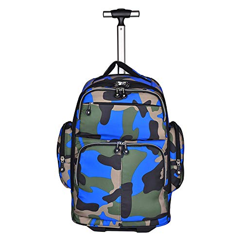 QINQIGBJ Rolling Backpack,20 inches Big Storage Multifunction Trolley Luggage Suitcase for High School or College,Compact Business Computer Bag (Color : Blue)