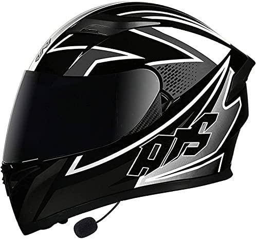STRTG Bluetooth Integrado Casco De Moto Modular con Doble Visera Casco De Motocicleta A Prueba De Viento para Adultos Hombres Mujeres Casco Moto Integral Homologado ECE B,XXL:54~57CM