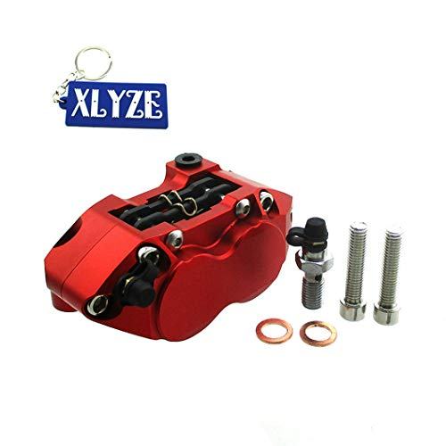 XLYZE Racing - Pinza de freno de 4 pistones, color rojo para Pit Dirt Super Motard Bike Scooter Moto