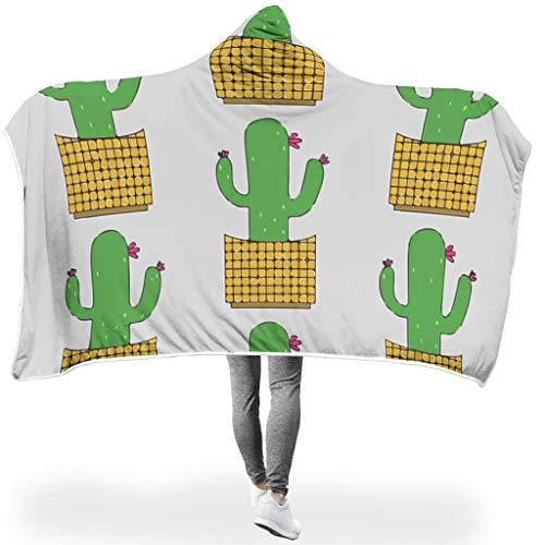 Charzee Niedlicher Kaktus-Entwurf PrintedHome Tapisserie Hooded Throw Wrap weich sanft Soft-Mantel Wohndecke Winter Badetuch Für Erwachsene White 130x150cm