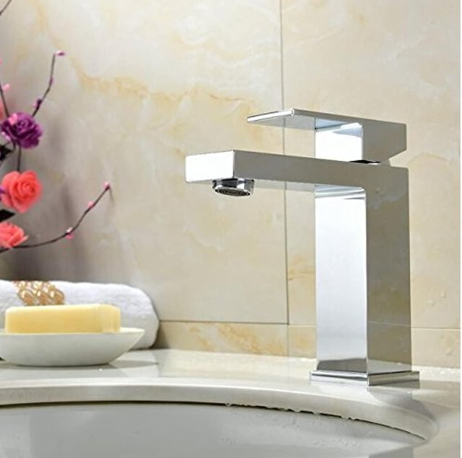 Diongrdk Basin Faucet Brass Body Square Hot and Cold Water Single Hole Single Handle Basin Faucet Tap Basin Sink Mixer Tap