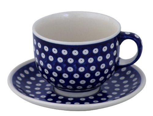 Bunzlauer Keramik Tasse mit Untertasse (Milchkaffeetasse) 0.5 Liter Dekor 42