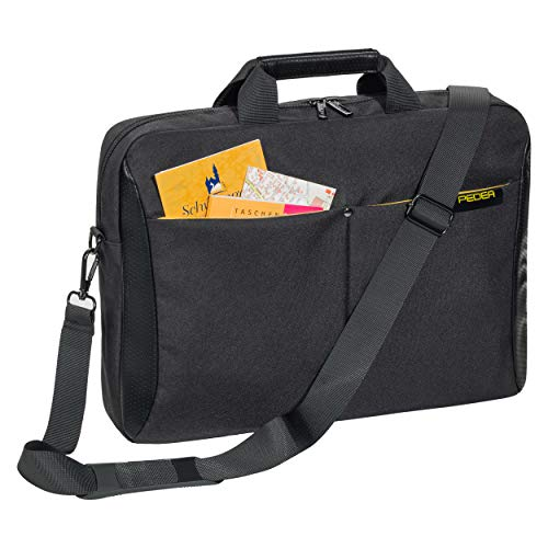 Pedea Laptoptasche Lifestyle Notebook-Tasche bis 17,3 Zoll (43,9 cm) Umhängetasche mit Schultergurt, Schwarz/Gelb