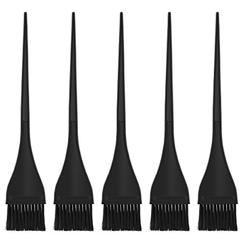 LURROSE 5 pcs Färbepinsel Silikon Haarfärbung Pinsel Färbezubehör für Friseur Salon (schwarz)