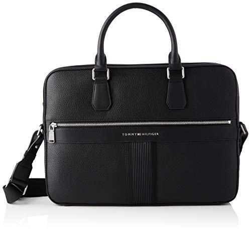 Tommy Hilfiger Men's TH DOWNTOWN SLIM COMPUTER BAG, Black, One Size