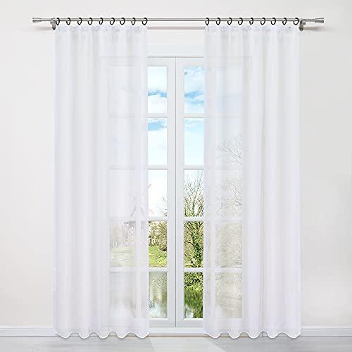 HongYa 1 Pièce Rideau Voilage Uni avec Galon Fronceur Installation Facile Transparent Décoration pour Fenêtre de Salon Chambre à Coucher Simple et Naturel Blanc H/L 225/145CM
