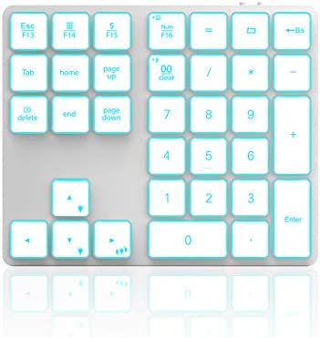 Wireless Bluetooth Backlit Numeric Keypad Jelly Comb Rechargeable Number Pad with 34 Keys for product image
