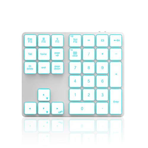 Teclado numérico inalámbrico con retroiluminación Bluetooth, Jelly Peine, teclado numérico recargable con 34 teclas para PC, portátil, MacBook, iMac, Win, Mac OS, blanco y plateado