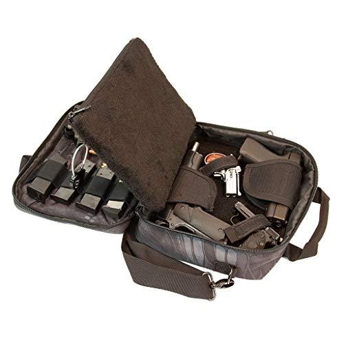 Pistol Case Range Bag for Handguns by FirstChoice; 2-4 Gun Padded Tactical Handgun Soft Case, Lockable Zippers w/Padlock, 3 Mini-Holsters, 8 Mag Slots, 4 Pockets, Range Mat (Black Kryptek Camo)
