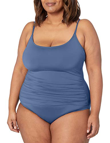 La Blanca Women's Island Goddess Rouched Body Lingerie Mio One Piece Swimsuit, Blue Moon, 16