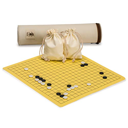 Yellow Mountain Imports Magnetic 19x19 Roll-up Portable Travel Go Game Set Board (14.4 x 13.6-Inch) with Single Convex Stones Classic Strategy Board Game (Baduk/Weiqi)
