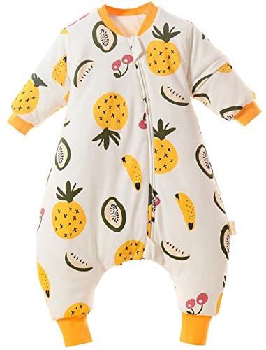 Chilsuessy Baby Ganzejahres Schlafsack mit Abnehmbare Ärmel Kinder Schlafsack mit Füßen 1.5 Tog 100% Baumwolle,Ganzjährig Schlafsack mit Beinen, Ananas, 90/Baby Höhe 90-100cm