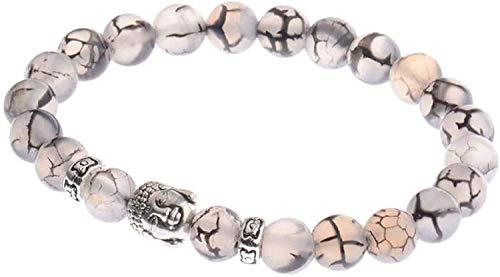 Gymqian Pulsera de Piedra Mujer, 7 Chakras 8Mm Perlas de Piedra Natural de Cuarzo Blanco Brazalete Elástico Buddha Joyas de Reye Yoga Energía Equilibrio Reiki Unlimited Charm Regalo