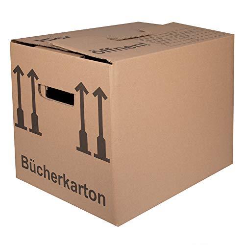BB-Verpackungen Bücherkartons 2-wellig | 25 Stück | Aktenkartons Archivbox 400 x 318 x 328 mm | Karton mit Deckel & Schmetterlingsboden | 40KG Tragkraft | Bookbox für Umzug, Dokumente & Bücher