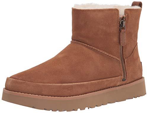 UGG Damskie klasyczne buty z zamkiem błyskawicznym mini botki, Zamsz kasztanowy - 36 EU