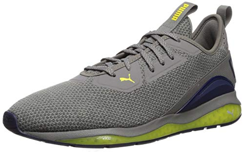 PUMA Cell DESCEND Sneaker, Charcoal Gray-Peacoat-Blazing Yellow, 6 M US