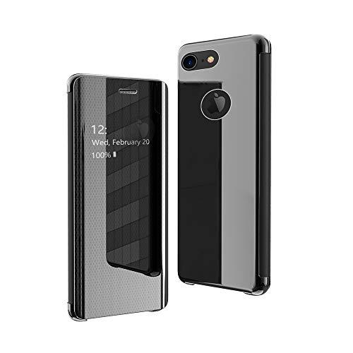 CrazyLemon Hülle für iPhone 7 Plus / 8 Plus, Dünn Leicht Sichtbar Spiegel Schutzhülle PU Leder + Mikrofaser PC Hybrid Stoßfest Handyhülle - Schwarz