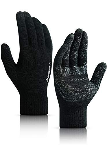 HONYAR Handschuhe Herren, Stricken Winterhandschuhe Damen Touchscreen Handy mit Warm Gefüttert - Elastische Manschette - Rutschfester Griff - Laufhandschuhe Autofahren Fahrrad - Schwarz (M)