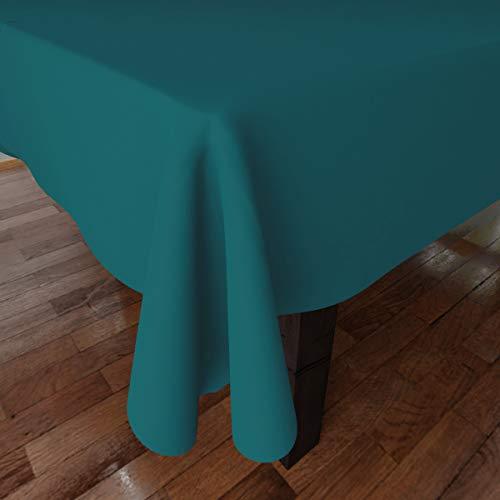 Encasa Homes Tovaglia Oxford in Cotone tovaglia di Cotone Semplice Colore per 6 a 8 posti a Sedere Grande Tavolo da Pranzo - 142 x 182 cm, Azzurro - Tessuto in Tela di Cotone, Mercerizzato