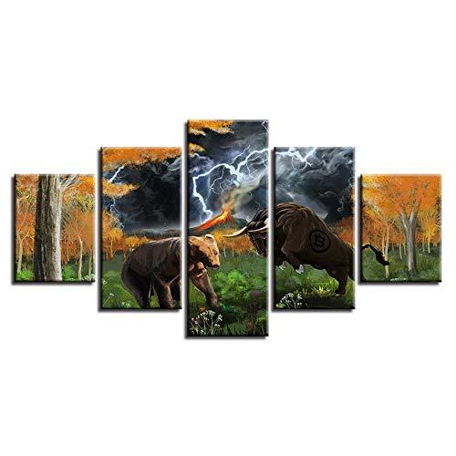 BXZGDJY Poster Modular Canvas Bilder Hd Gedruckt 5 Stück Tier Bär Und Stier Blitz Abstrakte Landschaft Gemälde Wandkunst Dekor 200X100CM Bild Bilder auf Leinwand 5 teilig Poster für Home Wohnzimmer