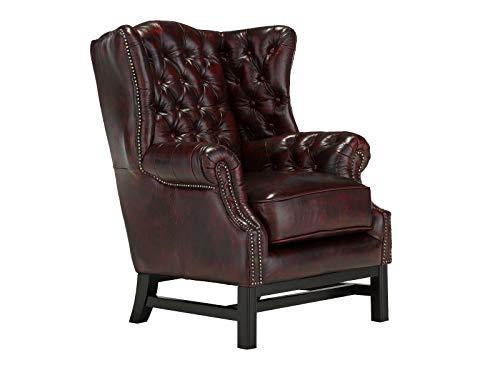 Woodkings® Chesterfield Kingsfield Sessel Echtleder Rot Bürosessel Polstermöbel antik Designsessel Federkern unikat Herrenzimmer englisches Leder Stilsessel
