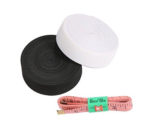 WINSHEA Bobina di elastico piatto largo 2,5 cm, lungo 5 m, da cucito, 2 pezzi, colore: nero e bianco, con 1 nastro di misurazione di 1,5 m, Poliestere, black and white, LxW: 5.5 yards x 1 inch