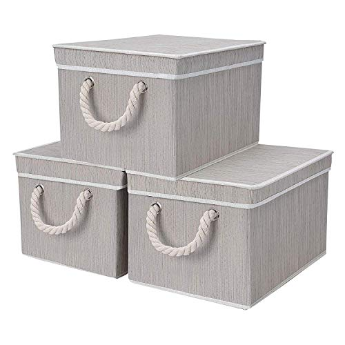 StorageWorks Decorative Storage Bins for shelves, Storage Baskets with Lids and Cotton Rope Handles, Mixing Of Gray, Brown & Beige, Jumbo, 3-Pack