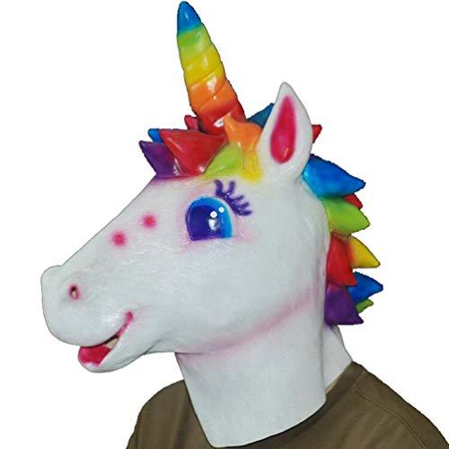 HATHOR-23 Novedad Halloween, Halloween Mascaras, Látex Animal Careta De Halloween, Partido Máscara, Paseo Actuación Disfraz Partido, Adecuado para Adultos Caballo (Size : Colorful Unicorn)