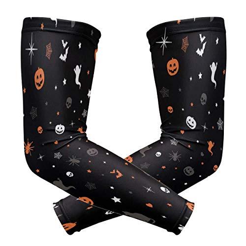 uytrgh - Mangas de deporte de enfriamiento con protección UV para hombres y mujeres, diseño vintage con estrellas de Halloween y calabazas galácticas