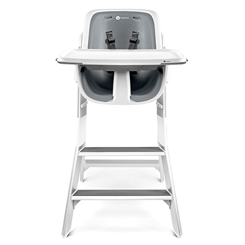 4moms high chair, For Baby, Infant, and Toddler, Magnetic, One-Handed Tray Attachment, from The Makers of The mamaRoo, White/Grey