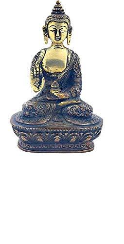 Antique Brass Buddha Statue Gautam Buddha Idol Sculpture,Worship Indoor Home Room Office Meditation Decor Gift Yoga Tibetan Buddhism Amitabha Figurine Size -7 inch