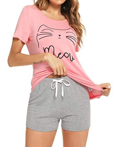 Enjoyoself Pijamas Cortos Mujer Algodón Verano Conjunto de Pijamas Ropa de Casa Dormir de Manga Corta en Cuello Redondo Pantalones Top de Dormir Casual Cómodo