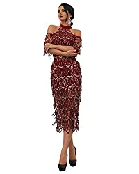 Burgundy High Neck Off Shoulder Tassel Sequin Short Sleeve Dress