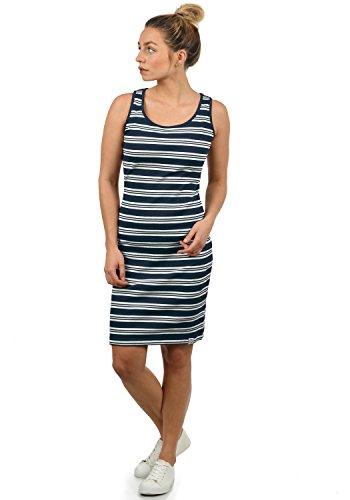 DESIRES Rahile Damen Kleid Sommerkleid Dress in Streifen-Optik mit Rundhals-Ausschnitt aus 100% Baumwolle, Größe:L, Farbe:Insignia Blue (1991)