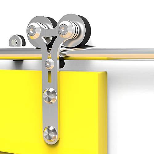 CCJH 6FT-183cm Acero Inoxidable Herraje para Puerta Corredera Kit de Accesorios para Puertas Correderas Rueda Riel Juego para Una Puerta de Madera