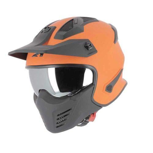 Astone Helmets - Elektron - Casque de moto jet - Casque jet 4 en 1 - Casque jet homologué - Coque en polycarbonate - Orange S