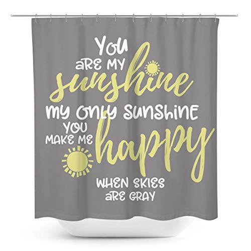 Coxila Grey and Yellow Shower Curtain You are My Sunshine Inspirational 60 x 72 Inch Polyester Fabric Waterproof 12 Pack Plastic Hooks
