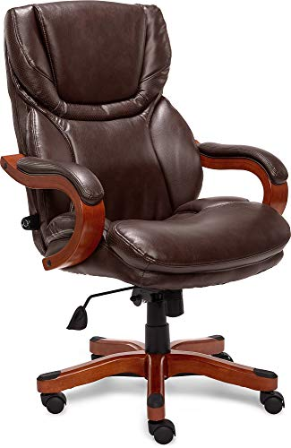Serta Big and Tall Executive Office Chair with Wood Accents Adjustable High Back...