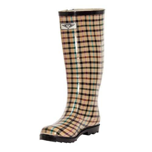 Forever Young Women Rubber Rain Boots, Lines Plaid Design, 6