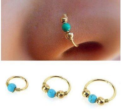 AJOYCN Blau Türkis Gold Nasenring Edelstahl Nasenring Piercing Schmuck Türkis Nasenloch Hoop Nase Ohrring (6mm * 1 + 8mm * 1 + 10mm * 1) 3PCS IN 1PACK
